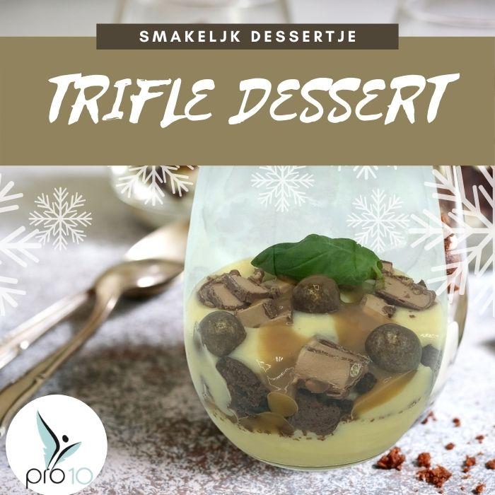 Vanille trifle met brownie en salted caramel